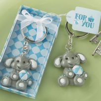 Adorable Baby Elephant With Blue Ball Key Ring
